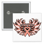 Endometrial Cancer Awareness Heart Wings.png Pinback Button