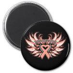 Endometrial Cancer Awareness Heart Wings.png Magnet