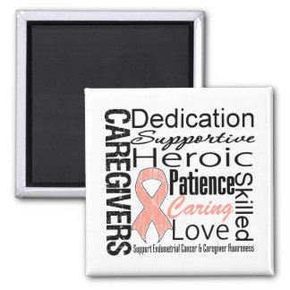 Endometrial Cancer Caregivers Collage Square Magnet