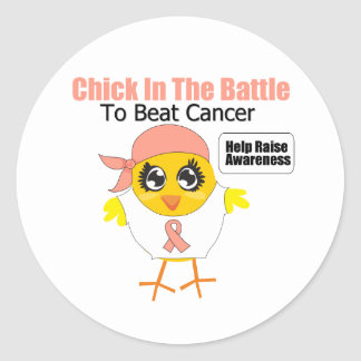 Endometrial Cancer Chick In the Battle Round Sticker