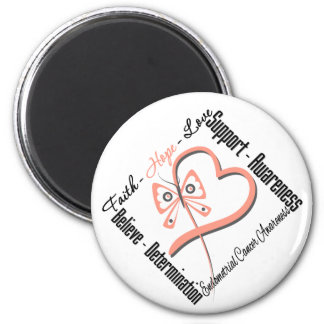 Endometrial Cancer Faith Hope Love Butterfly Refrigerator Magnets