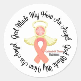 Endometrial Cancer God Made My Hero An Angel Round Sticker
