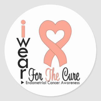 Endometrial Cancer Heart Ribbon For The CURE Round Sticker