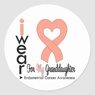 Endometrial Cancer Heart Ribbon GRANDDAUGHTER Round Sticker