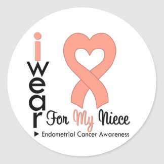 Endometrial Cancer Heart Ribbon NIECE Round Sticker