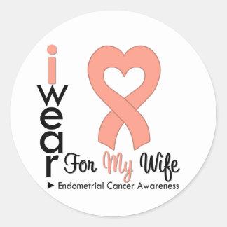 Endometrial Cancer Heart Ribbon WIFE Round Sticker