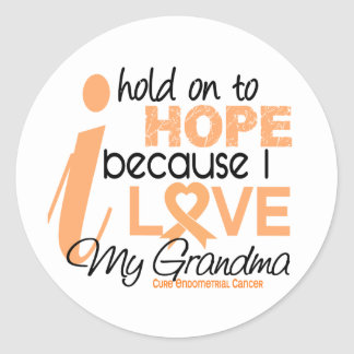 Endometrial Cancer Hold On To Hope For My Grandma Round Sticker