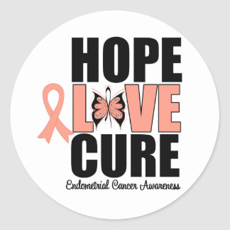 Endometrial Cancer Hope Love Cure Round Stickers