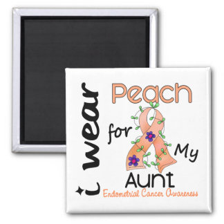Endometrial Cancer I Wear Peach For My Aunt 43 Fridge Magnets