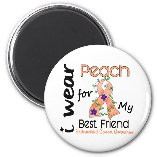 Endometrial Cancer I Wear Peach For My Best Friend Fridge Magnet