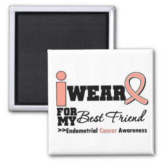Endometrial Cancer I Wear Peach Ribbon Best Friend Square Magnet