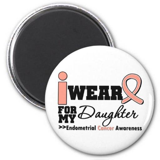 Endometrial Cancer I Wear Peach Ribbon Daughter Refrigerator Magnet