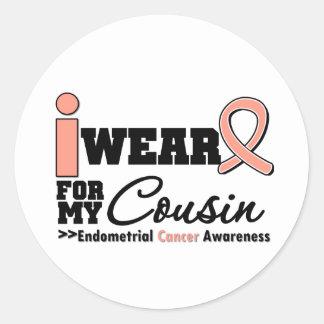 Endometrial Cancer I Wear Peach Ribbon For Cousin Round Sticker