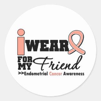 Endometrial Cancer I Wear Peach Ribbon For Friend Round Sticker