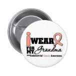 Endometrial Cancer I Wear Peach Ribbon For Grandma Pins