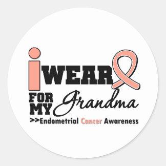 Endometrial Cancer I Wear Peach Ribbon For Grandma Round Sticker