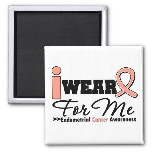 Endometrial Cancer I Wear Peach Ribbon For Me Magnet