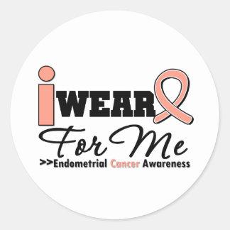 Endometrial Cancer I Wear Peach Ribbon For Me Round Sticker