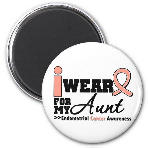 Endometrial Cancer I Wear Peach Ribbon For My Aunt Refrigerator Magnets