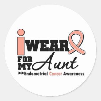 Endometrial Cancer I Wear Peach Ribbon For My Aunt Round Sticker