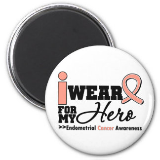 Endometrial Cancer I Wear Peach Ribbon For My Hero 6 Cm Round Magnet