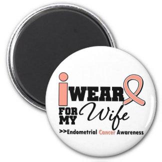 Endometrial Cancer I Wear Peach Ribbon For My Wife Fridge Magnet