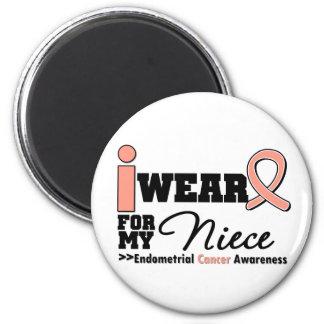 Endometrial Cancer I Wear Peach Ribbon For Niece Refrigerator Magnets