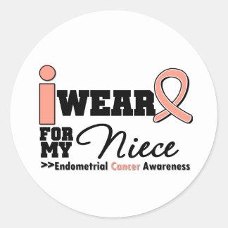 Endometrial Cancer I Wear Peach Ribbon For Niece Round Sticker
