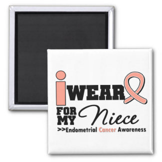 Endometrial Cancer I Wear Peach Ribbon For Niece Square Magnet