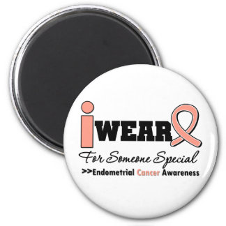 Endometrial Cancer I Wear Peach Ribbon For Someone 6 Cm Round Magnet