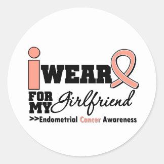 Endometrial Cancer I Wear Peach Ribbon Girlfriend Round Sticker