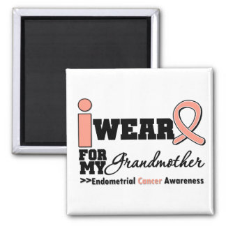 Endometrial Cancer I Wear Peach Ribbon Grandmother Square Magnet