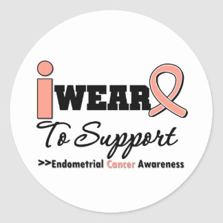 Endometrial Cancer I Wear Peach Ribbon To Support Round Sticker
