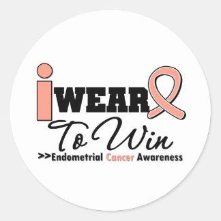 Endometrial Cancer I Wear Peach Ribbon To Win Round Sticker