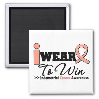 Endometrial Cancer I Wear Peach Ribbon To Win Square Magnet