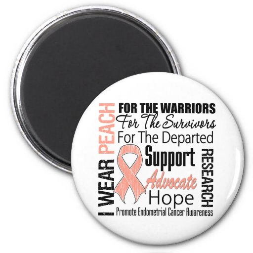 Endometrial Cancer I Wear Peach Ribbon TRIBUTE Magnets