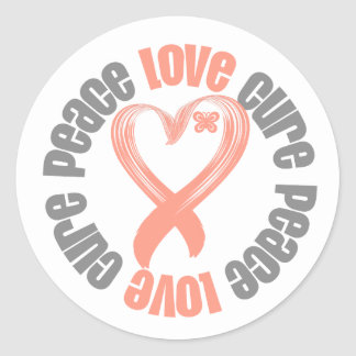 Endometrial Cancer Peace Love Cure Ribbon Round Sticker