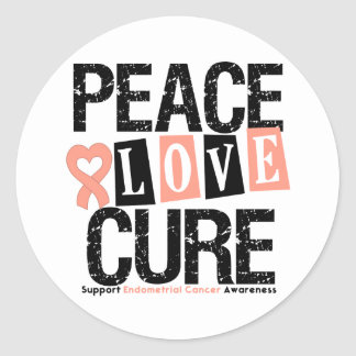 Endometrial Cancer Peace Love Cure Round Sticker