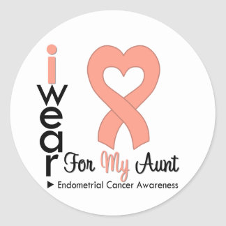 Endometrial Cancer Peach Heart Ribbon AUNT Classic Round Sticker