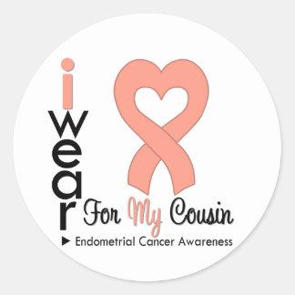 Endometrial Cancer Peach Heart Ribbon COUSIN Round Sticker
