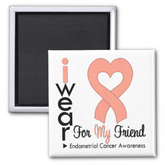 Endometrial Cancer Peach Heart Ribbon FRIEND Square Magnet