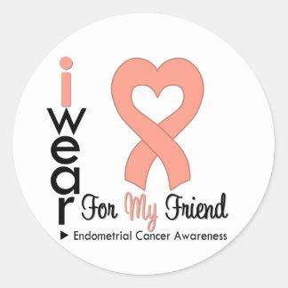 Endometrial Cancer Peach Heart Ribbon FRIEND Round Sticker