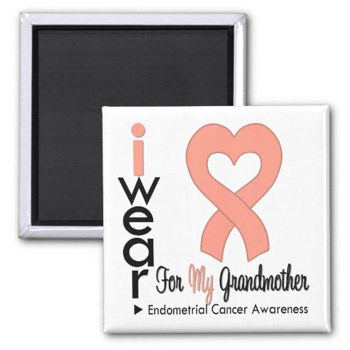 Endometrial Cancer Peach Heart Ribbon GRANDMOTHER Refrigerator Magnets