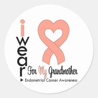Endometrial Cancer Peach Heart Ribbon GRANDMOTHER Round Sticker