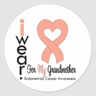 Endometrial Cancer Peach Heart Ribbon GRANDMOTHER Classic Round Sticker