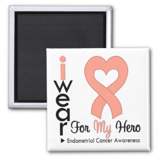 Endometrial Cancer Peach Heart Ribbon HERO Square Magnet