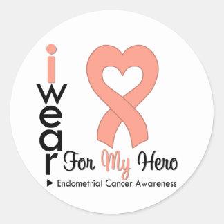 Endometrial Cancer Peach Heart Ribbon HERO Round Sticker