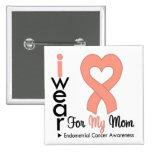 Endometrial Cancer Peach Heart Ribbon MOM Pin