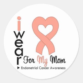 Endometrial Cancer Peach Heart Ribbon MOM Stickers