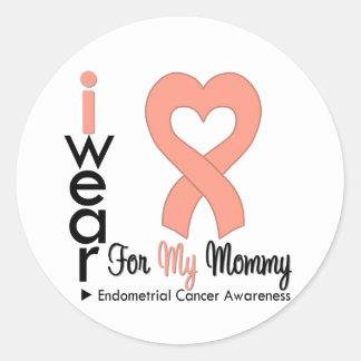 Endometrial Cancer Peach Heart Ribbon MOMMY Round Sticker